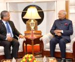Seychelles' Leader of Opposition Wavel Ramkalawan meets President Kovind