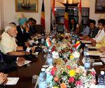 Modi during delegation level talks in Seychelles