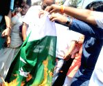 Shiv Sena protest against suicide attack on a CRPF bus