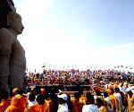 Shravanabelagola (Karnataka):  Devotees gather during anointing of Lord Bahubali