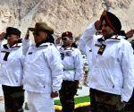 Siachen (J&K): Rajnath Singh pays tributes at 'Siachen War Memorial