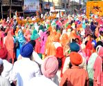 Sikh devotees during a procession