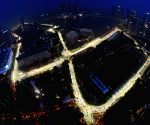 Partially-lit street circuit of the Singapore F1 Grand Prix