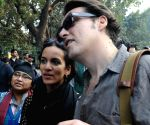 Anushka Sankar participates in a protest rally as Supreme Court says homosexuality is an offence