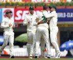 3rd Test - Enrich Nortji celebrates the wicket of Virat Kohli