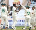 3rd Test - Kagiso Rabada celebrates the wicket of Mayank Agrawal
