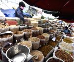 Spices and dry fruits on sale at Khari Baoli market