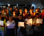 Students' candle light vigil in solidarity with Kathua rape victim