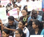 Students participate in a science awareness rally