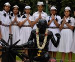 Students paying  Quit India Movement Day