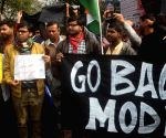 Students protest against PM Modi during his visit to Kolkata