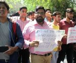 Students' demonstration against re-examination of Class X Maths and Class XII Economics papers