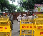 Supports of LJP's Chirag Paswan protest against Pashupati Kumar Paras residence also seen in police barricades in front of Chirag Paswan residence in New Delhi