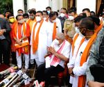 Suvendu Adhikari, BJP MLA and leader of opposition West Bengal Assembly, along with other BJP MLA's meet with Governor of West Bengal Jagdeep Dhankar and discuss various issues and problems in Kolkata.