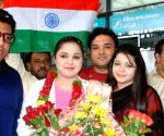 Syeda Falak being greeted in Hyderabad