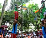 Members of Red Nose circus from North Jakarta perform