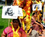 TDP Mahila activists demonstrating