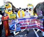 N. Chandrababu Naidu leads farmers' protest on the opening day of Winter Session of Andhra Pradesh Assembly
