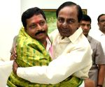 K Chandrasekhar Rao greets the newly elected Rajya Sabha members of TRS