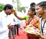 K. Chandrasekhar Rao visits his native village in Telangana