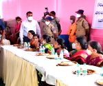 Telangana CM lunches with residents of adopted village