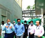 KT Rama Rao interacts with the employees of Bharat Biotech