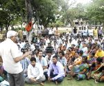 Kodanda Ram meets striking sanitation workers of GHMC