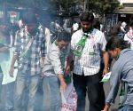Telangana Rashtiya Vidhyarthi Dal set fire effegy