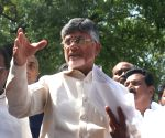 N. Chandrababu Naidu talks to the media after meeting CEC