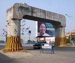 The big size hoarding of West Bengal Chief Minister and TMC supremo Mamata Banerjee displayed all over the city for voting TMC ahead of West Bengal Assembly Election in Kolkata