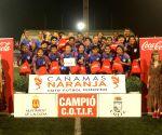 Free Photo: Indian women footballers get special trophy in Spain