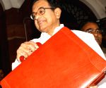 Finance Minister P.Chidambaram leaves North Block to Parliament House to present the Interim Budget 2014-15