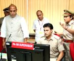 Rajnath Singh inspecting the functioning of Police Control Room