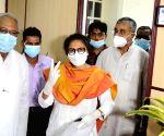 Kolkata :TMC candidate Susmita Dev receiving certificate after unopposed winning at the Rajya Sabha