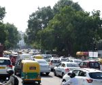 : New Delhi: International Yoga Day preparations cause traffic jam