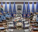 Union Defence minister Rajnath Singh Chairs during the The Indian Air Force Commanders' Conference at Air Headquarters (Vayu Bhawan), Rafi Marg, in New Delhi