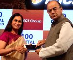 New Delhi : Arun Jaitley with Chanda Kochhar at the inauguration of 100 Digital Villages