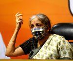 Union Finance Minister Nirmala Sitharaman addresses a press conference