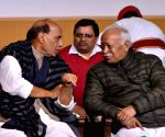 Rajnath Singh, Mohan Bhagwat at writer Devendra Swaroop's condolence meet