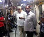 Gajendra Singh Shekhawat travels in Delhi Metro