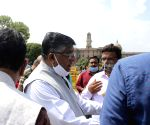 Ravi Shankar Prasad addresses the media outside Parliament