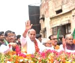 2019 Lok Sabha elections - Rajnath Singh during a roadshow ahead of filing nomination