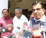 Nitin Gadkari talks to the media