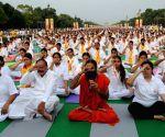 Venkaiah Naidu, Ramdev during Yoga programme