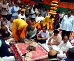 """BJP organises """"bhoomi pujan"""" ahead of Delhi polls"""
