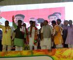 Rajnath Singh, Gautam Gambhir during election campaign in East Delhi