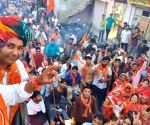 Rajyavardhan Singh Rathore during a BJP roadshow