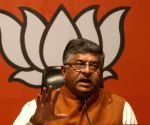 Ravi Shankar Prasad addressing a press conference