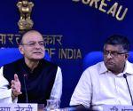 Arun Jaitley, Ravi Shankar Prasad and Narendra Singh Tomar at a press conference