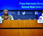 Union Ministers Ravi Shankar Prasad and Prakash Javadekar address a cabinet briefing